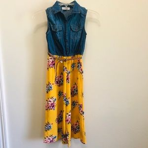 Knit Works Girl's Sleeveless Chambray Top Jumpsuit in Sizes 8 & 18 1/2 Plus